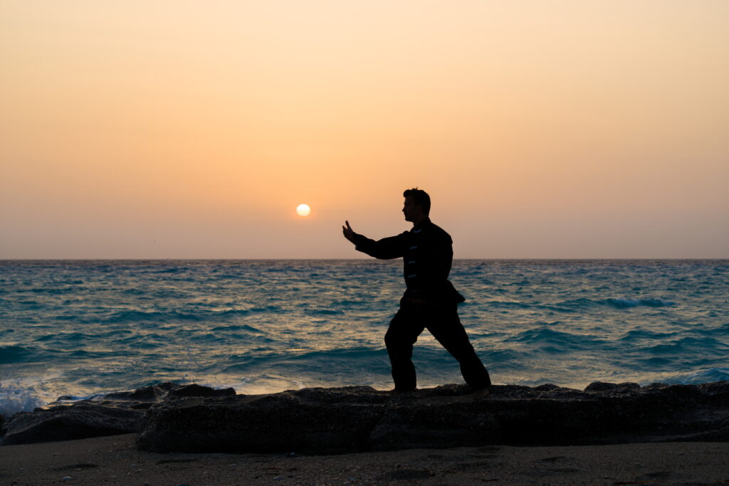 Man performs Kung Fu moves silhouetted against sunset - learn kung fu online