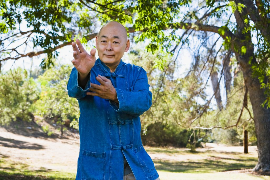 Man doing martial arts in park