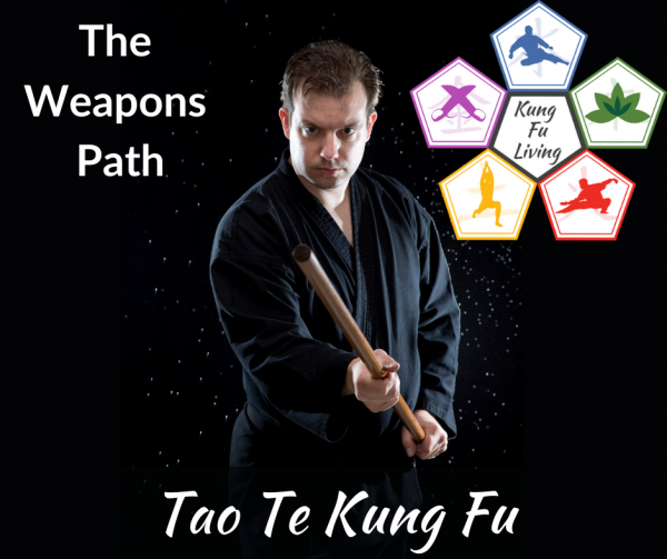 Kung Fu Living weapons path. man with Bo staff weapon